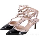 VALENTINO ROCKSTUD 鉚釘三繫帶漆皮高跟鞋(黑x耦色) 1610236-C8