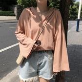 長袖T恤女2019秋季新款韓版學生抽繩寬鬆百搭薄款連帽上衣打底衫