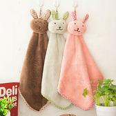 格紋兔子珊瑚絨擦手巾 浴廁小物 毛巾 造型擦手巾