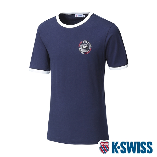 K-SWISS Crew Neck Binding Tee棉質吸排T恤-男-藍
