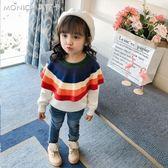 女童秋裝毛衣新款童裝毛衫兒童針織衫套頭1-3歲2純棉寶寶上衣   莫妮卡小屋