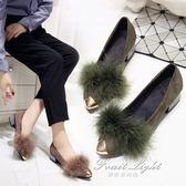 毛毛鞋女單鞋尖頭絨面百搭韓版秋季粗跟淺口軟底 果果輕時尚