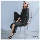 Catworld 正韓空運*前打結短版T加鬆緊腰寬褲兩件組【16600166】‧F
