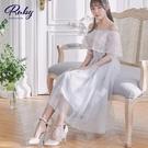洋裝 一字領荷葉刺繡馬甲短袖禮服洋裝-Ruby s 露比午茶