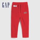 Gap男幼童 LOGO修身款搖粒絨針織長褲 593028-紅色