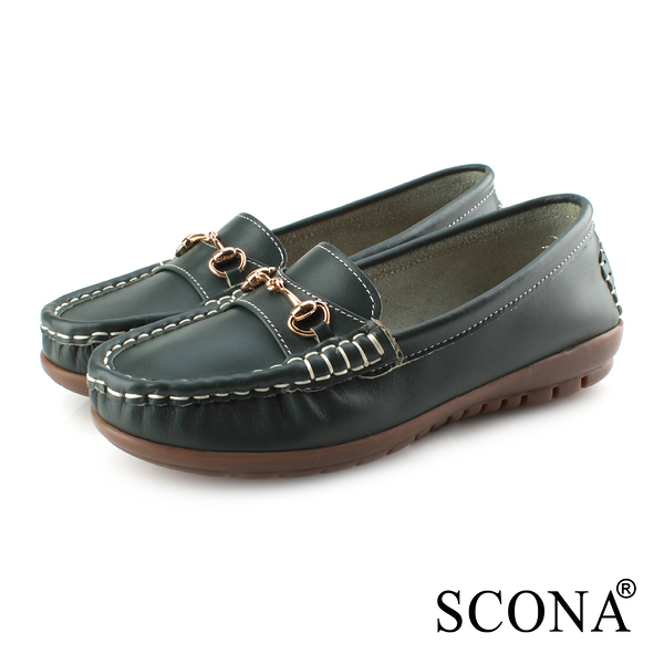 SCONA 蘇格南 全真皮 經典手縫全包式休閒鞋 綠色 7338-3