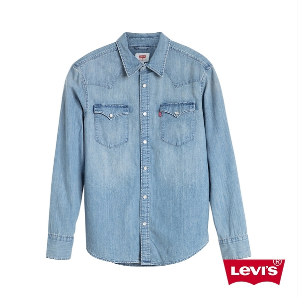 Levis 男款 牛仔襯衫 / Barstow 經典V型雙口袋 / 休閒版型 / 淺藍水洗