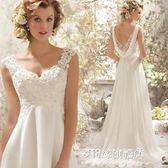 晚禮服新款夏時尚露背新娘雙肩拖尾婚紗禮服主持人宴會演出服 多莉絲旗艦店YYS