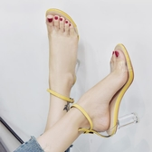 2019夏季新款透明高跟露趾涼鞋女性感氣質一字扣帶魚嘴粗跟水晶鞋