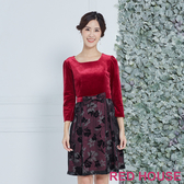 RED HOUSE-蕾赫斯-絨布花朵洋裝(紅色)