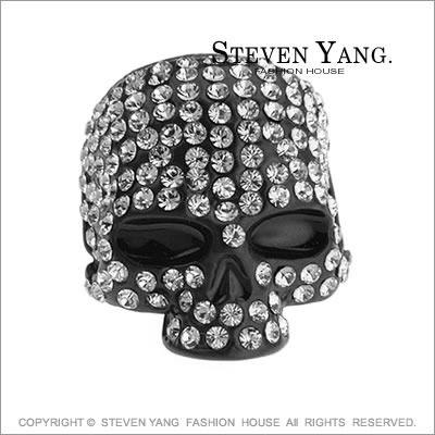戒指STEVEN YANG正白K飾 骷髏頭嘻哈個性 黑色款 小豬羅志祥