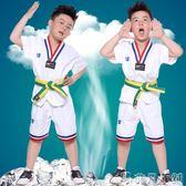 夏季短袖跆拳道服兒童T恤教練服成人男女少兒純棉跆拳道服裝    非凡小鋪