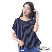 Victoria 條紋雪紡拼接寬鬆短袖T-女-深藍底白條