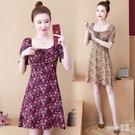 紫紅色碎花洋裝連身裙女中長款法式復古氣質方領修身雪紡2020夏季新款 LR23787『Sweet家居』