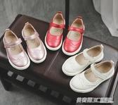 女童皮鞋春秋季新款韓版牛皮公主鞋小女孩豆豆淺口兒童單鞋潮  英賽爾3