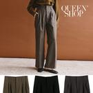 Queen Shop【04101404】基本百搭素色毛呢打摺長褲 三色售*現+預*