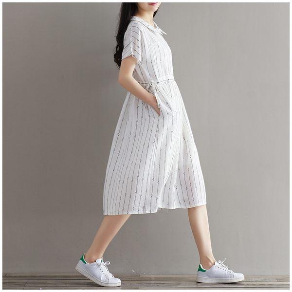 東京奈奈日系短袖印花寬鬆收腰甜美洋裝[j68121]