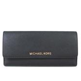 MICHAEL KORS Jet Set Travel 金字Logo防刮全皮革薄型 壓扣式長夾(黑色)-35S6GTVE1L