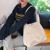 帆布袋 素色 帆布包 搭釦 手提袋 內壓折 單肩包 休閒包 手提/單肩【SP99244】 BOBI  11/07