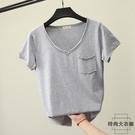 【2件】大碼短袖女t恤洗水棉簡約純色體恤V領上衣寬松打底衫夏裝【時尚大衣櫥】