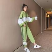 初秋女裝2020兩件套時尚套裝休閒運動服 網紅秋裝牛油果綠寬鬆