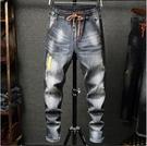 新品特惠# 新款韓版男士牛仔褲青年修身破洞小腳褲休閑彈力牛仔褲