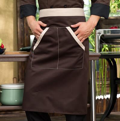 半截長圍裙 咖啡色圍裙 服務員圍裙 廚師圍裙半身餐館圍裙