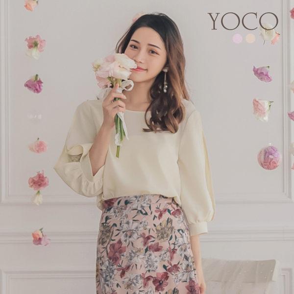 東京著衣【YOCO】YOCO-柔美女孩澎袖簍洞蕾絲雪紡上衣-S.M.L(190198)