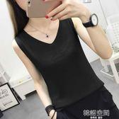 黑白色外穿針織背心女短款內搭夏季寬鬆小吊帶打底衫大碼無袖上衣 韓語空間