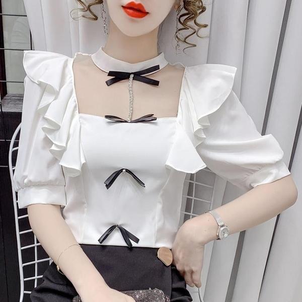 短袖襯衫 甜美法式襯衣2021年夏季新款小眾修身顯瘦設計感女士短袖襯衫上衣 維多原創