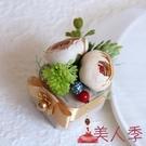 戒指盒 婚禮交換創意森系中式紅色小復古托盤新郎新娘結婚首飾盒【美人季】