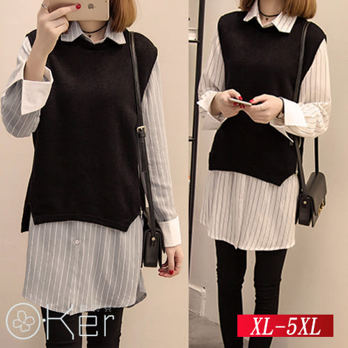 中大尺碼 兩件套-時尚顯瘦背心+條文襯衫 (背心+襯衫)  XL-5XL O-Ker 歐珂兒 LLB8221-C