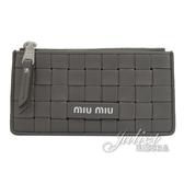 茱麗葉精品【全新現貨】MIU MIU 5MB006 壓印LOGO編織造型多卡式零錢包.灰