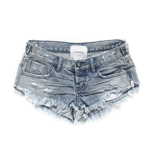 OneTeaspoon 牛仔短褲 破褲 NO.2 S ROCKY-藍(女)