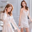睡衣女春秋季冰絲薄款2021年新款性感絲綢吊帶睡裙睡袍兩件套裝夏【快速出貨】