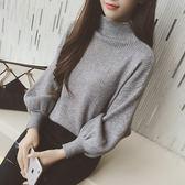 毛衣女韓版半高領打底針織衫寬鬆套頭燈籠袖蝙蝠衫 伊衫風尚