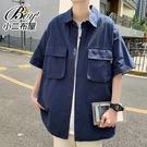 短襯衫 韓版素面工裝大口袋落肩短袖襯衫【NLHYXS-C42】