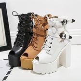 粗跟15cm新款2017春秋女鞋馬丁靴超高跟恨天高裸靴短靴