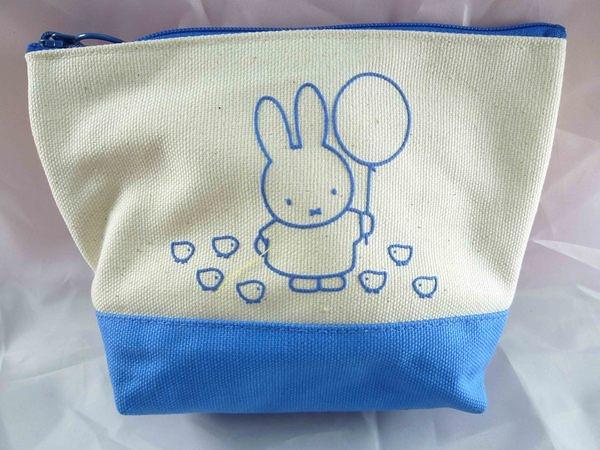 【震撼精品百貨】Miffy 米菲兔米飛兔~寬底平口帆布化妝包『橘&藍&綠』