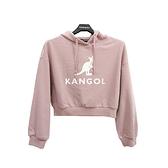 KANGOL 女款粉色短版帽T-NO.6052105141
