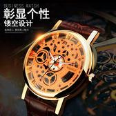 下殺  復古男士手錶皮帶機械圖樣夜光鏤空石英錶防水 手錶