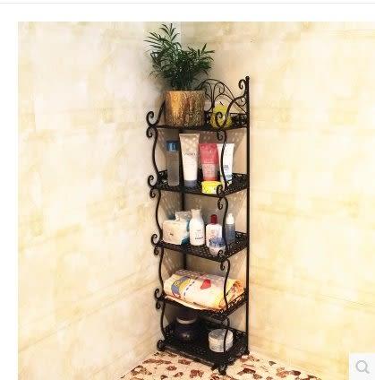 鐵藝置物架衛生間浴室廚房角架廁所整理裝飾架落地書架廚房收納架