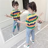 女童短袖t恤新品夏裝兒童洋氣條紋半袖中大童裝正韓寬鬆上衣 鉅惠85折