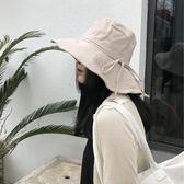 遮陽帽帽子女士夏天棉麻素色蝴蝶結漁夫帽女潮布帽出游大檐遮陽帽 貝兒鞋櫃