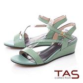 TAS壓紋牛皮曲線繫帶楔型涼鞋-薄荷綠