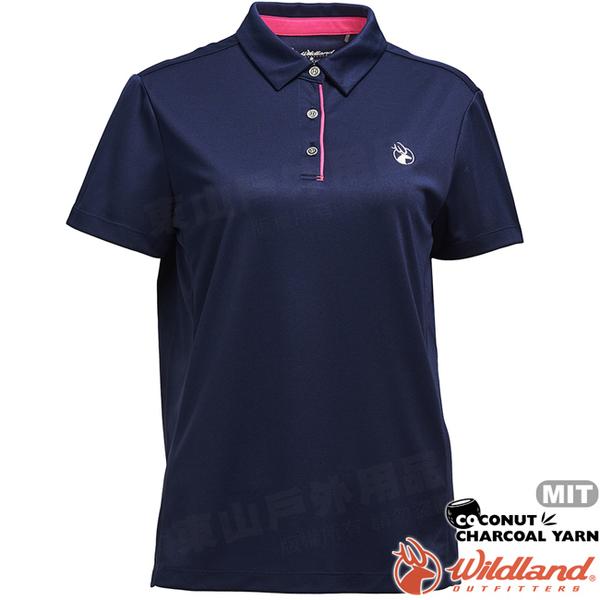 Wildland 荒野 0A71603-72深藍色 女椰炭紗本布領抗菌上衣 抗紫外線/涼爽散熱/吸濕快乾/POLO衫