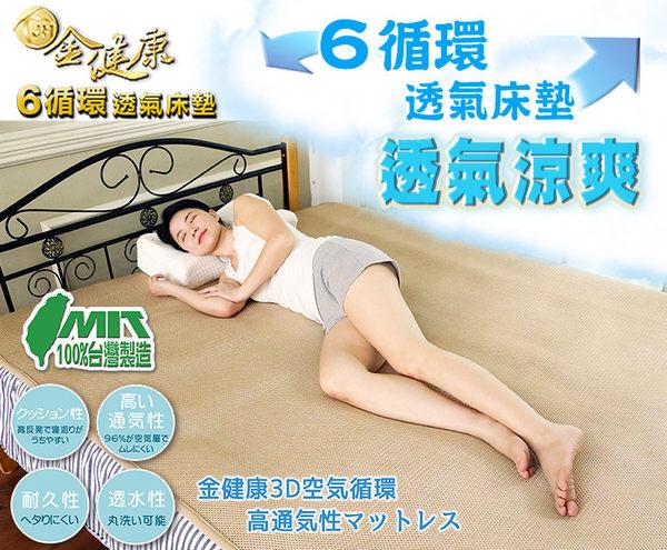 【鉅豪】JH-金健康6D循環透氣會呼吸6D舒眠床墊 【單人尺寸】
