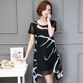 中大尺碼 大碼女裝2018夏季新款印花雪紡連衣裙加大寬松短袖裙子潮  GY79『美鞋公社』