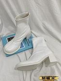 馬丁靴 高跟后拉鏈瘦瘦靴2021新款粗跟百搭馬丁靴女英倫風短靴單靴潮 榮耀3C