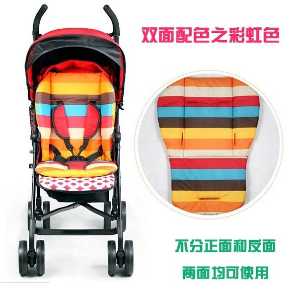 TwinS通用型多功能嬰兒推車汽座餐椅雙面彩虹座墊【五點式安全帶適用】